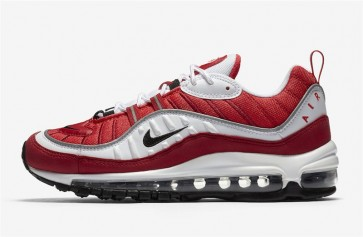 """Nike Air Max 98 Homme """"Gym Rouge"""" Blanche Noir Pas Cher"""