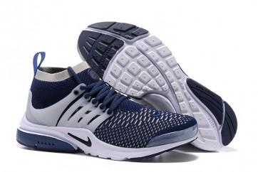 Chaussures Homme Nike Air Presto Ultra Flyknit High Pas Cher - Bleu Blanche