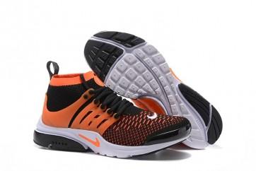 Nike Air Presto Ultra Flyknit High Homme Pas Cher - Chaussures Noir Orange