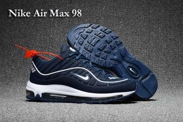Homme Supreme x Nike Air Max 98 KPU TPU Bleu Blanche Soldes