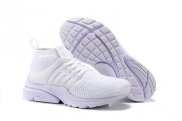 Chaussures Nike Air Presto Ultra Flyknit High Femme Blanche Pas Cher