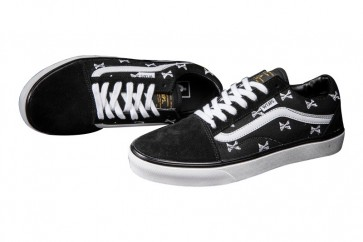 Chaussures VANS Old Skool Crossbones Noir Blanche Soldes
