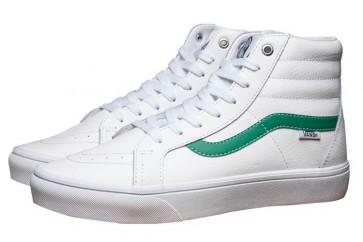 Vans Sk8 Hi Leather Soldes, Chaussures Blanche Verte