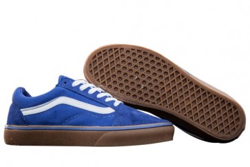 Chaussures Vans Old Skool Classic Pas Cher - Bleu Blanche