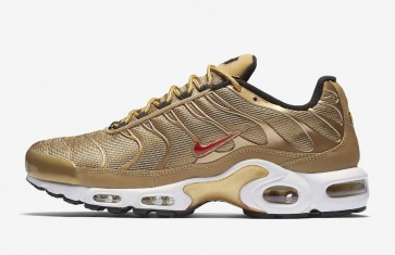 Boutique Nike Air Max Plus Homme Metallic Or Rouge