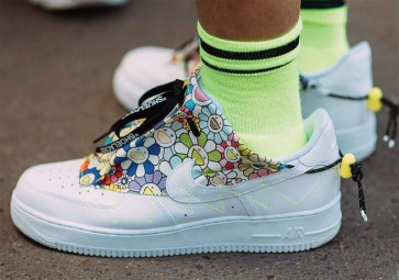 "Homme Takashi Murakami x Nike Air Force 1 ""Flower Power"" Blanche Multi-Color Meilleur Prix"