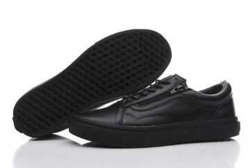 Vans Old Skool Leather Zip Triple Black Pas Cher | Chaussures Vans Noir
