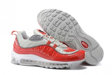 """Homme Supreme x Nike Air Max 98 """"Varsity Rouge"""" Rouge Argent Pas Cher"""