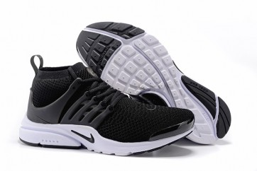 Chaussures Nike Air Presto Ultra Flyknit High Femme Noir Blanche Pas Cher