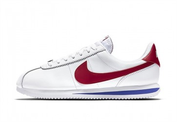 Homme Nike Cortez Leather OG Blanche Rouge Rabais