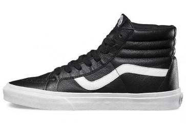 Chaussures Vans Sk8 Hi Reissue Leather Noir Blanche