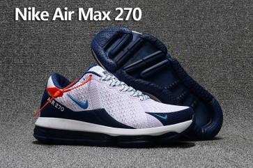 Homme Nike Air Max 270 Trainers KPU TPU Blanche Bleu Pas Cher