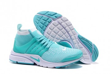 cheaper b4574 42800 Chaussures Nike Air Presto Ultra Flyknit High Femme Bleu Blanche Soldes