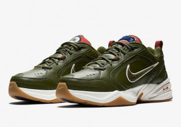 Homme Nike Air Monarch IV 4 Olive Rouge Pas Cher