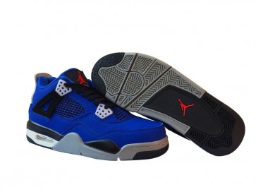 Homme Nike Air Jordan 4 Retro Bleu Noir En ligne