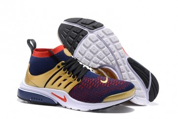 Nike Air Presto Ultra Flyknit High Pas Cher | Chaussures Homme Bleu Rouge