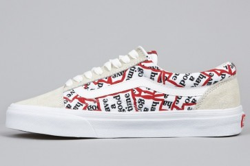 Chaussures Vans Old Skool Blanche Noir Moins Cher