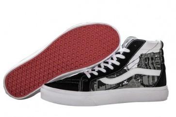 Chaussures Vans Sk8 Hi Noir Blanche Pas Cher