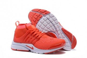 Chaussures Nike Air Presto Ultra Flyknit High Femme Rouge Blanche Soldes