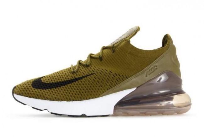 detailed pictures great look presenting Homme Nike Air Max 270 Flyknit Olive Flak Pas Cher Meilleur Prix