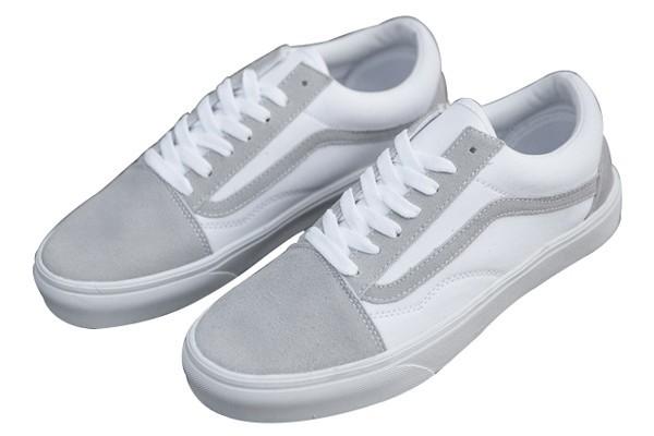 Aproximación Leyes y regulaciones Articulación  Rabais Chaussures Homme/Femme Vans Old Skool Blanche/Grise Pas Cher Soldes