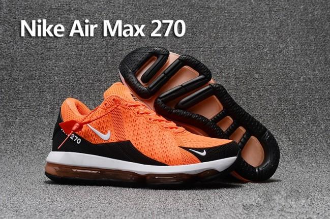 16f0d6868282 Homme Nike Air Max 270 Trainers KPU TPU Orange Noir Pas Cher Rabais