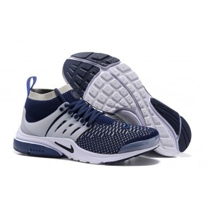 Chaussures Homme Nike Air Presto Ultra Flyknit High Pas Cher - Bleu Blanche