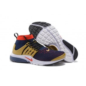 Chaussures Homme Nike Air Presto High Ultra Flyknit Bleu Rouge Soldes