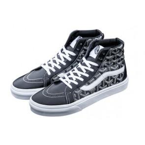 Vans Sk8 Hi Leather Pas Cher, Chaussures Noir Blanche