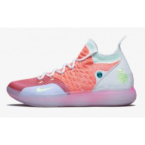 "Homme Nike KD 11 ""EYBL"" Basketball Hot Punch Lime Blast-Pure Platinum Pas Cher"
