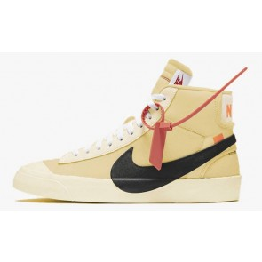 Off-White x Nike Blazer Studio Mid Canvas Homme Noir Orange Pas Cher