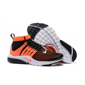 Chaussures Nike Air Presto High Ultra Flyknit Homme Soldes - Noir Orange