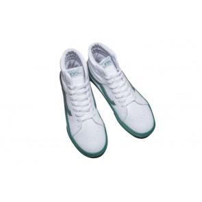 Chaussures Vans SK8 Hi Leather Blanche Verte Pas Cher
