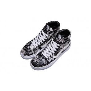Chaussures Vans Sk8 Hi Pas Cher | Noir Blanche Vans