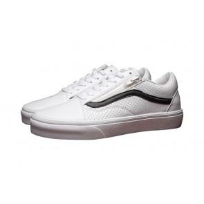 Vans Old Skool Zip Leather Pas Cher - Chaussures Vans Blanche Noir