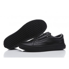Vans Old Skool Leather Zip Triple Black Pas Cher | Chaussures Vans Noir