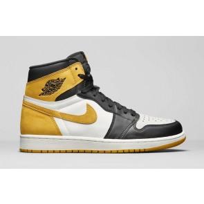 "Homme Nike Air Jordan 1 Retro High OG ""Jaune Ochre"" Blanche Noir Rabais"