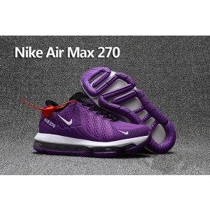 Femme Nike Air Max 270 Trainers KPU TPU Pourpre Blanche Pas Cher