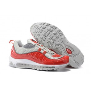 "Homme Supreme x Nike Air Max 98 ""Varsity Rouge"" Rouge Argent Pas Cher"