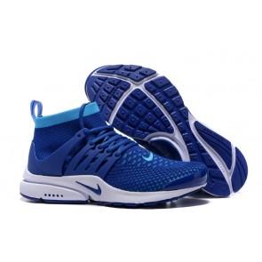 Chaussures Homme Nike Air Presto High Ultra Flyknit Bleu Blanche