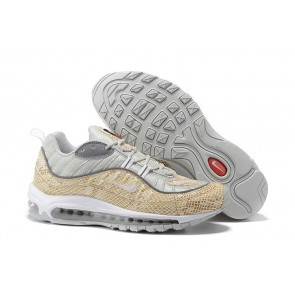 "Boutique Homme Supreme x Nike Air Max 98 ""Sail"" Argent Rouge"