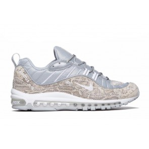 Acheter Supreme x Nike Air Max 98 Snakeskin Sail Argent Rouge Femme