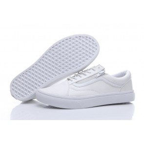 Vans Old Skool Leather Zip Soldes - Chaussures Vans Blanche
