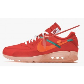 Off-White x Nike Air Max 90 Homme Rouge Orange Pas Cher