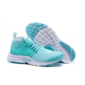 Chaussures Nike Air Presto Ultra Flyknit High Femme Bleu Blanche Soldes
