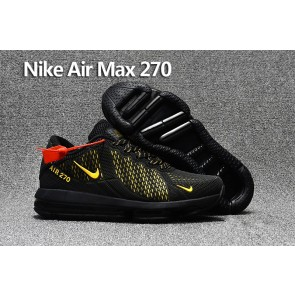Homme Nike Air Max 270 Trainers KPU TPU Noir Or Soldes