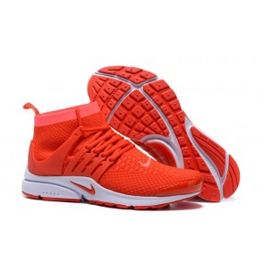 Nike Air Presto High Ultra Flyknit Chaussures Rouge Blanche Pas Cher