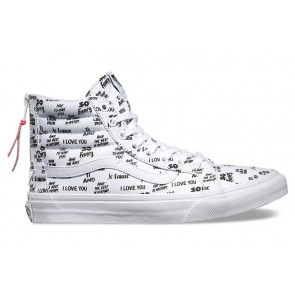 Chaussures Vans SK8 Hi Slim Zip Blanche Noir Soldes, Chaussures Vans Femme