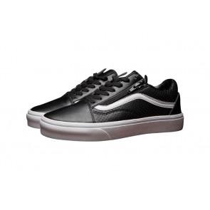 Vans Old Skool Zip Leather Soldes: Chaussures Noir Blanche