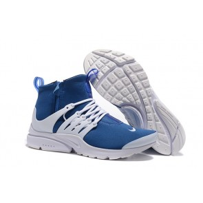 Homme Nike Air Presto High Chaussures Bleu Blanche Soldes
